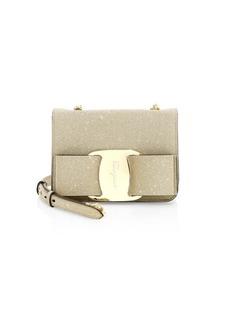 Ferragamo Mini Tess Bow Glitter Crossbody Bag