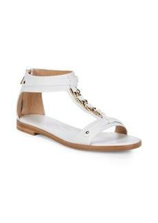 Ferragamo Mix Ankle Zip Leather Sandal