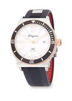 Ferragamo Modern Stainless steel and Rubber Strap Watch