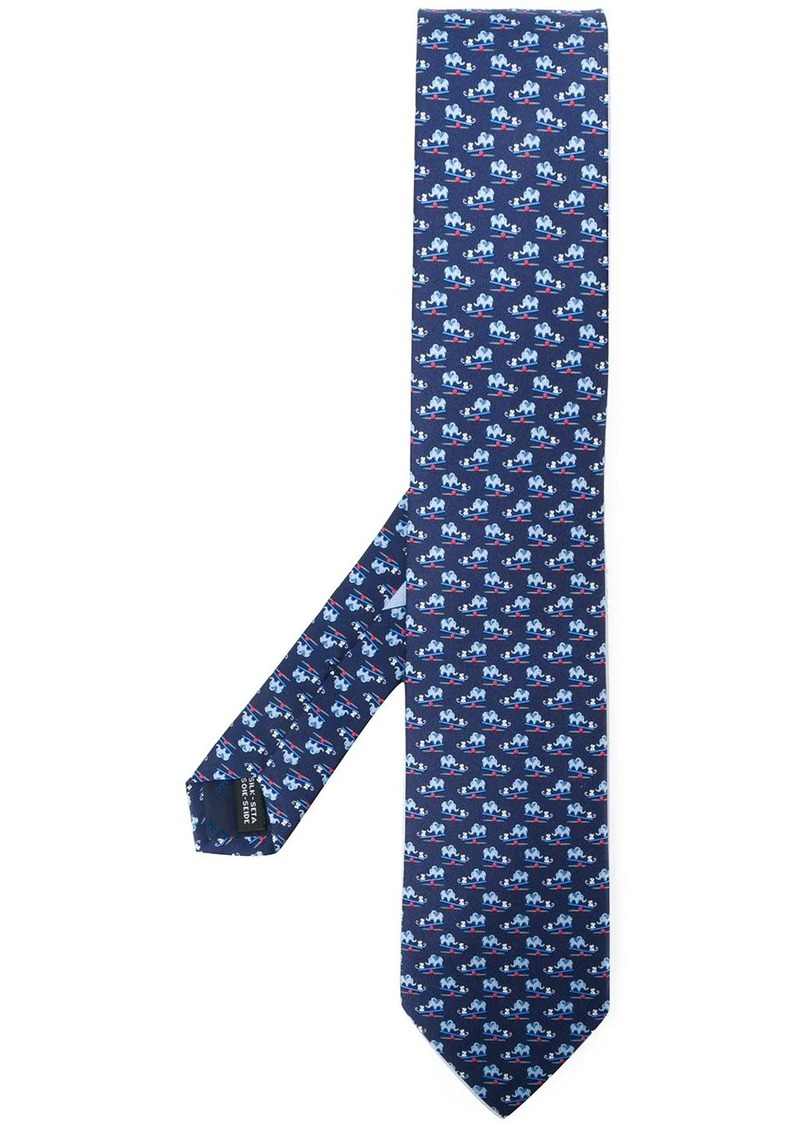 Ferragamo mouse and elephant print neck tie