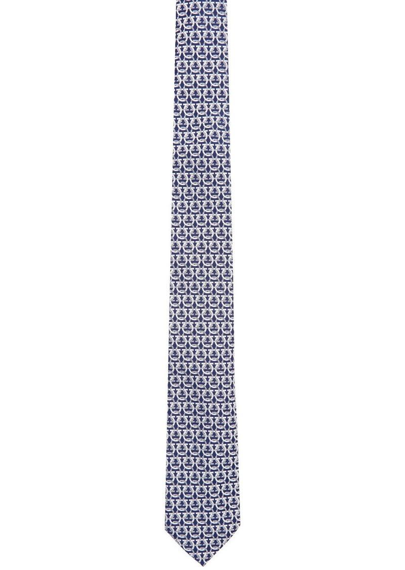 Ferragamo Navy & White Gancini Tie