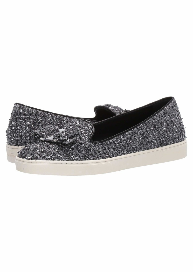 Ferragamo Novello Leather Bow Slip-On Sneakers