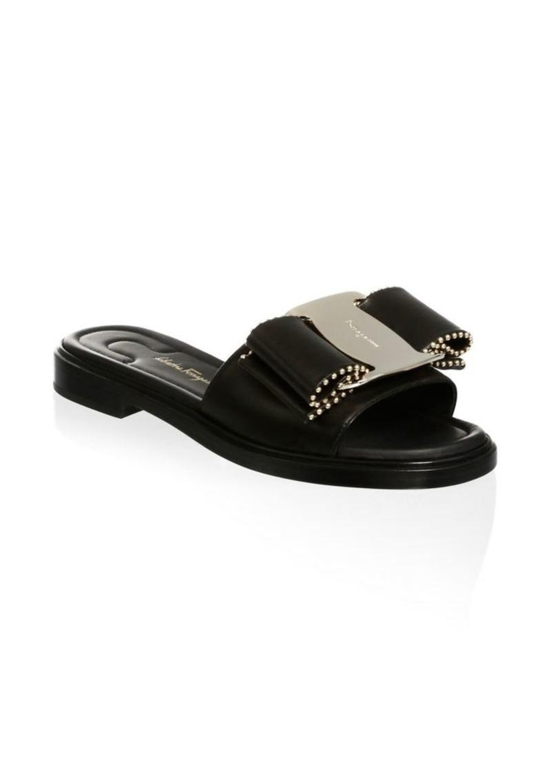 c71d9e0979dad4 Ferragamo Ornament Studded Bow Leather Sandals