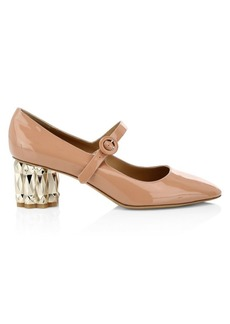 Ferragamo Ortensia Faceted-Heel Patent Leather Mary Janes