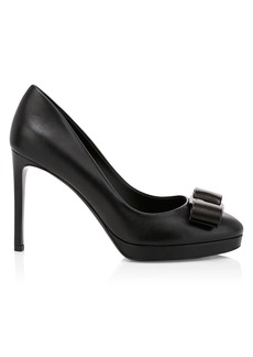 Ferragamo Osimo Bow Platform Leather Pumps
