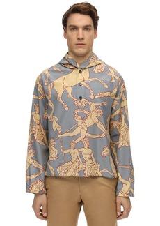 Ferragamo Oversize Hooded Allover Print Shirt