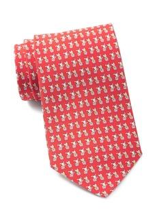Ferragamo Pair of Puppies Print Silk Tie