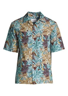 Ferragamo Palm Print Short-Sleeve Button-Down Shirt