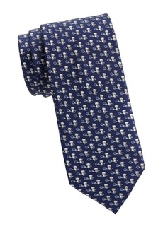 Ferragamo Panda Playing Tennis Silk Tie