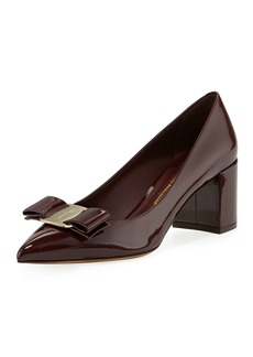 Ferragamo Patent Leather Block-Heel Bow Pointed-Toe Pump