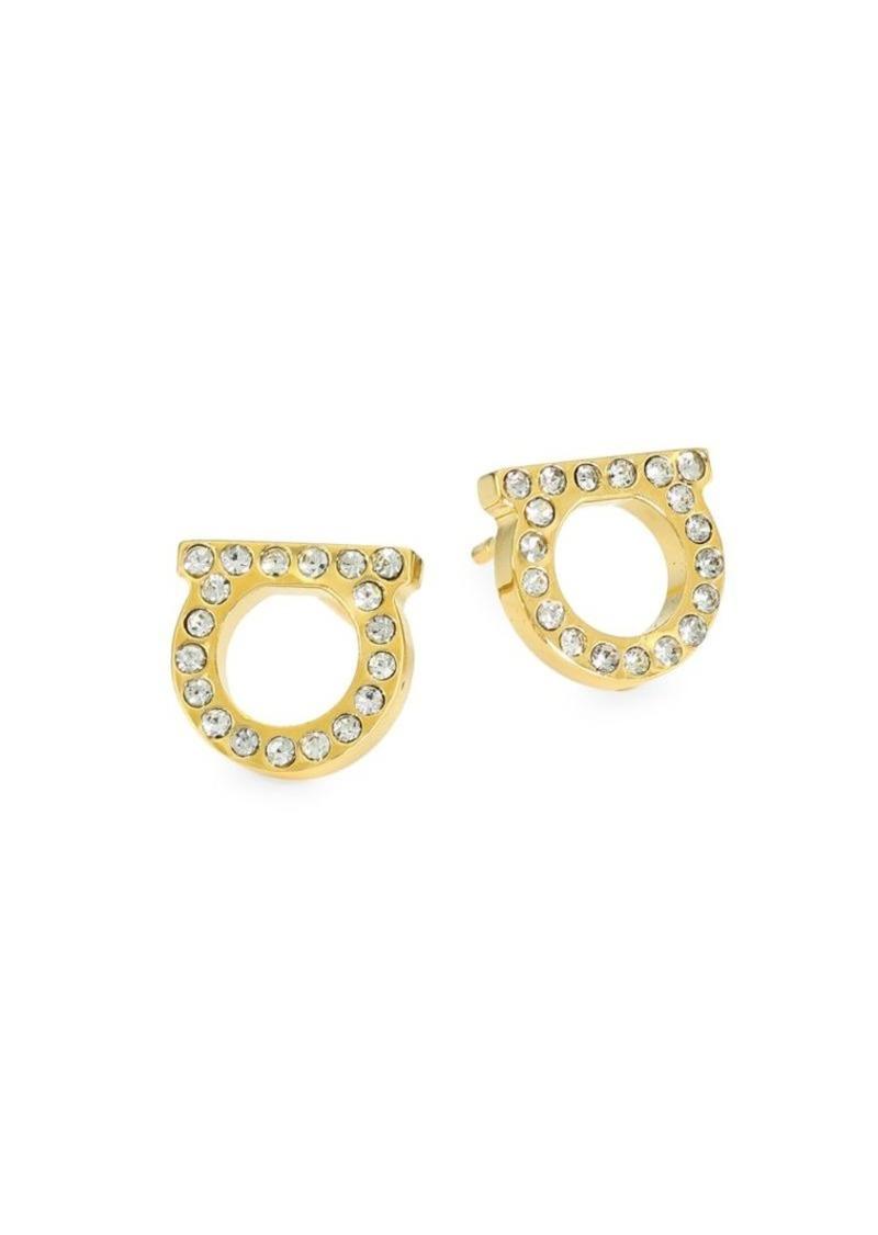 """Ferragamo Goldtone & Pavé Logo Stud Earrings/0.3"""""""