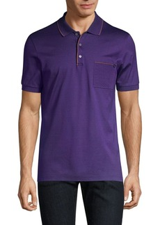 Ferragamo Pique Contrast Cotton Polo Shirt