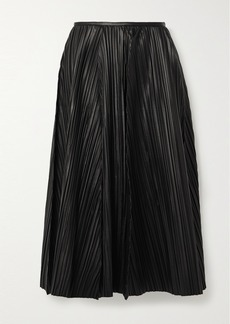 Ferragamo Pleated Leather Midi Skirt
