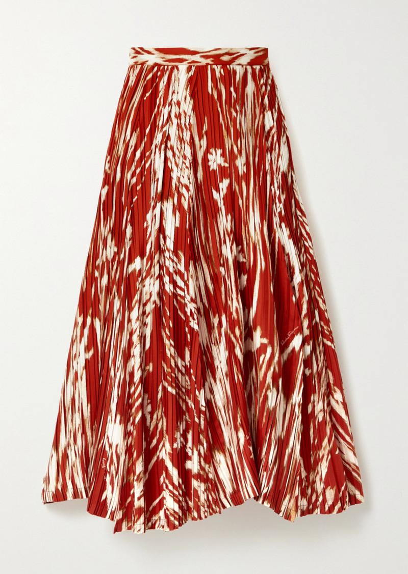 Ferragamo Pleated Printed Silk-twill Midi Skirt
