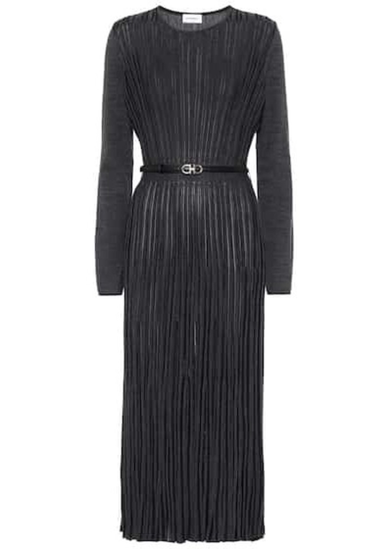 Ferragamo Pleated wool-blend midi dress