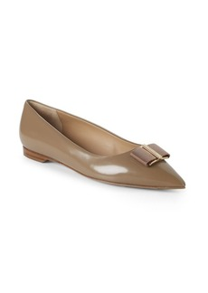 Ferragamo Point Toe Leather Ballet Flats