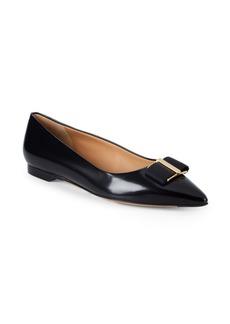 Ferragamo Point Toe Leather Ballet Flats