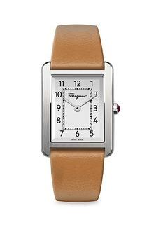 Ferragamo Portrait L Stainless Steel & Leather-Strap Watch