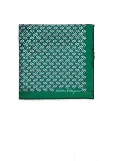 Ferragamo Printed Silk Pocket Square