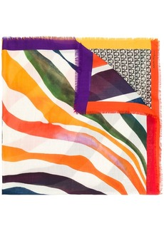 Ferragamo printed waves Gancini scarf