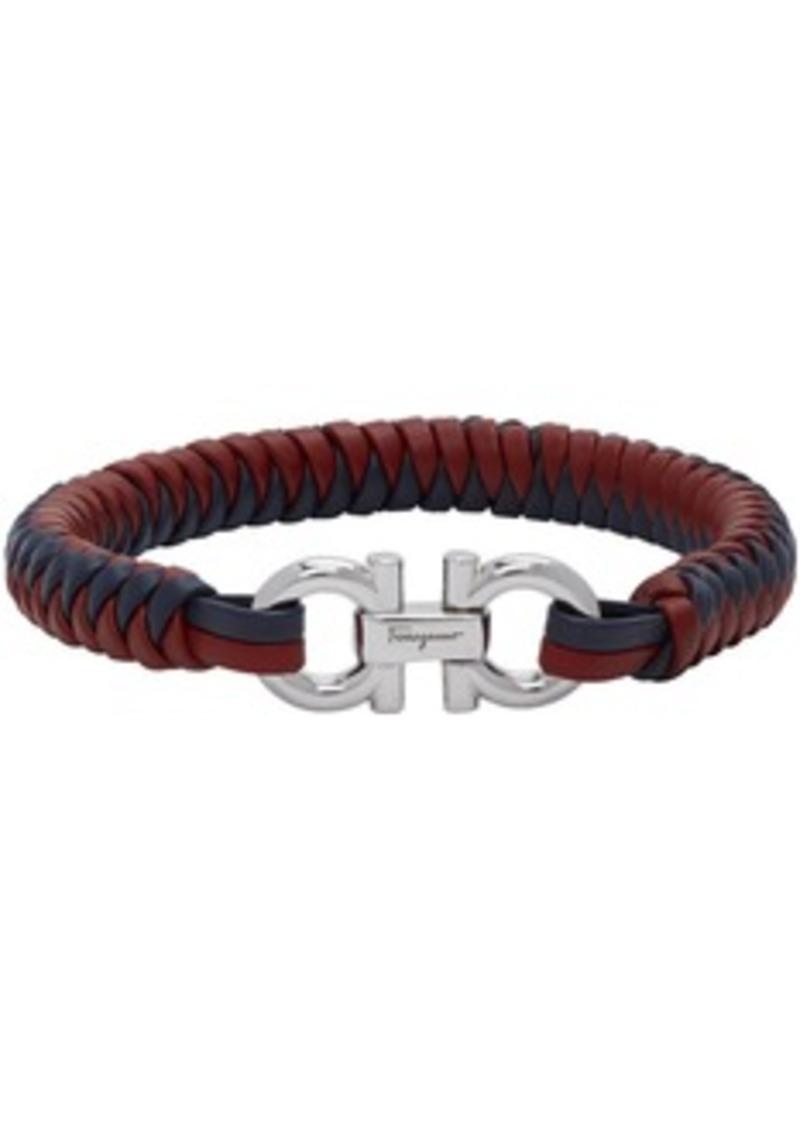 Ferragamo Red & Blue Braided Leather Bracelet