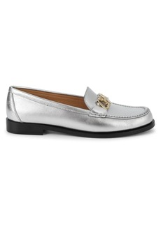 Ferragamo Rolo Metallic Leather Loafers