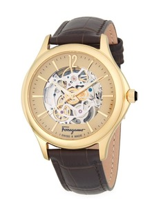 Ferragamo Round Stainless Steel Automatic Embossed Leather-Strap Watch