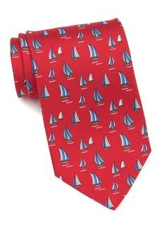 Ferragamo Sailboat Print Silk Tie