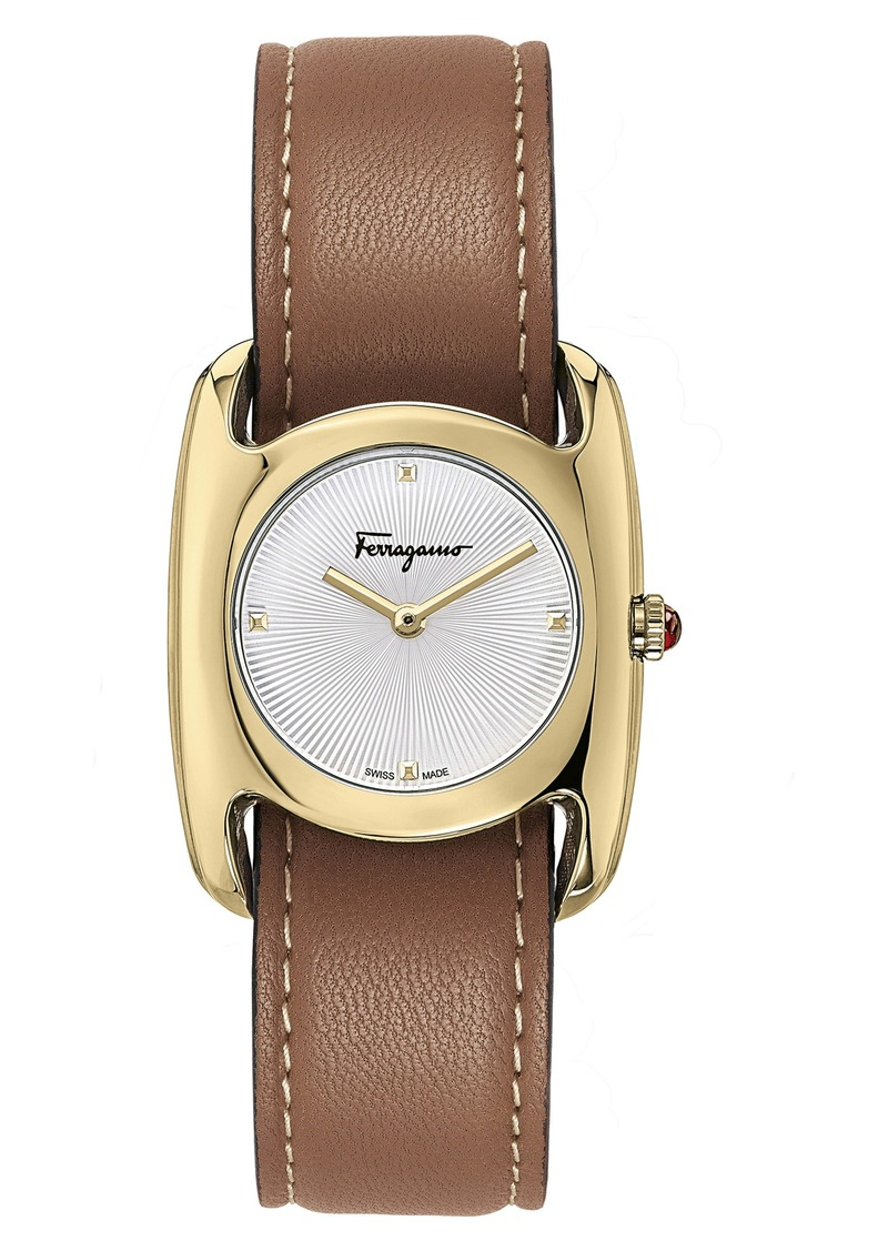Ferragamo Salvatore Feragamo Vara Leather Strap Watch, 28mm x 34mm