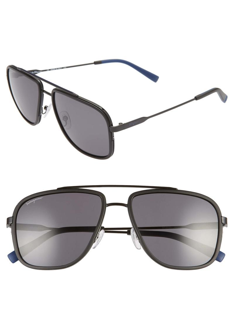 Salvatore Ferragamo 57mm Navigator Sunglasses