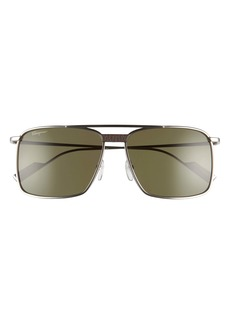 Salvatore Ferragamo 59mm Rectangular Navigator Sunglasses
