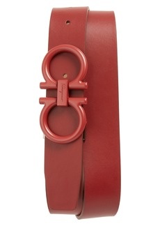 Salvatore Ferragamo Tonal Double Gancini Leather Belt