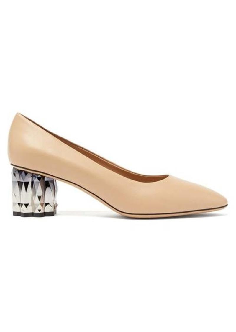 Salvatore Ferragamo Amina faceted-heel leather pumps