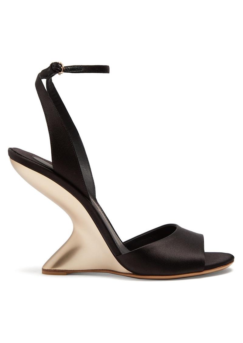 Salvatore Ferragamo Arsina sculptural-heel satin wedge sandals