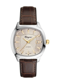 Ferragamo Automatic Square Leather Watch