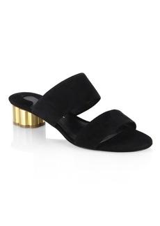 Ferragamo Belluno Flower Heel Suede Slide Sandals
