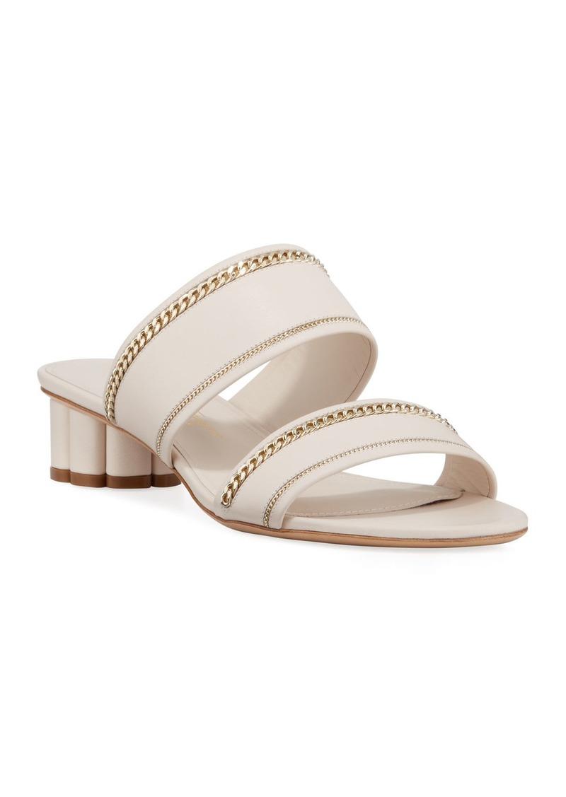 Salvatore Ferragamo Belluno Lux Chain-Trim Slide Sandals