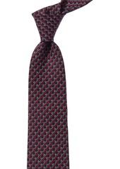 Salvatore Ferragamo Blue & Red Gancini Silk Tie