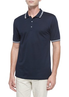 Ferragamo Men's Tape-Tipped Short-Sleeve Polo