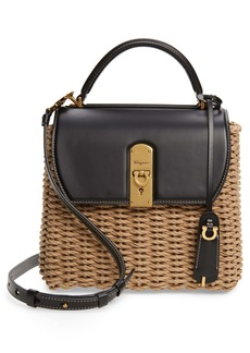 Salvatore Ferragamo Boxyz Leather & Woven Cord Satchel