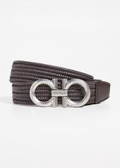 Salvatore Ferragamo Braided Double Gancini Stretch Belt