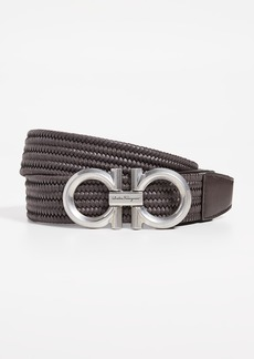 Salvatore Ferragamo Braided Double Gancini Stretch Belt