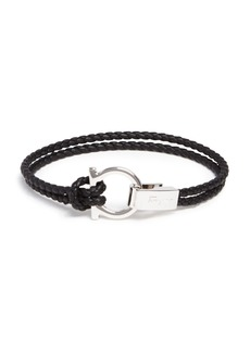 Salvatore Ferragamo Braided Double Wrap Bracelet with Gancio Closure