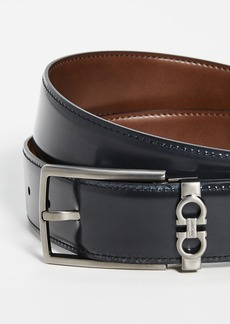 Salvatore Ferragamo Brushed Silver Reversible Gancio Belt