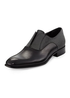 Salvatore Ferragamo Calfskin and Metallic Fabric Slip-On Loafer  Black