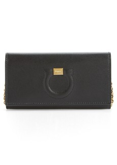 Salvatore Ferragamo City Gancio Leather Wallet on a Chain