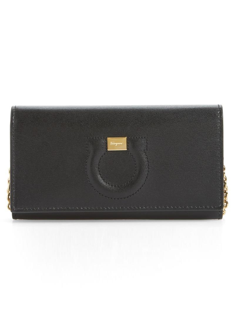 Salvatore Ferragamo City Gancio Leather Wallet on a Chain