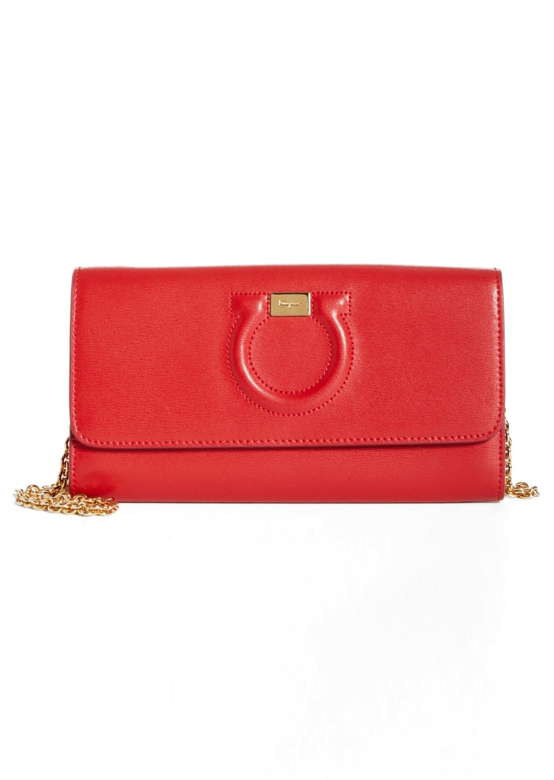 Salvatore Ferragamo City Quilted Gancio Leather Wallet on a Chain