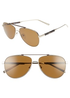Salvatore Ferragamo Classic Logo 60mm Polarized Aviator Sunglasses