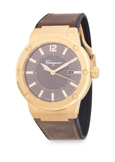 Ferragamo Classic Stainless Steel and Leather Strap Watch